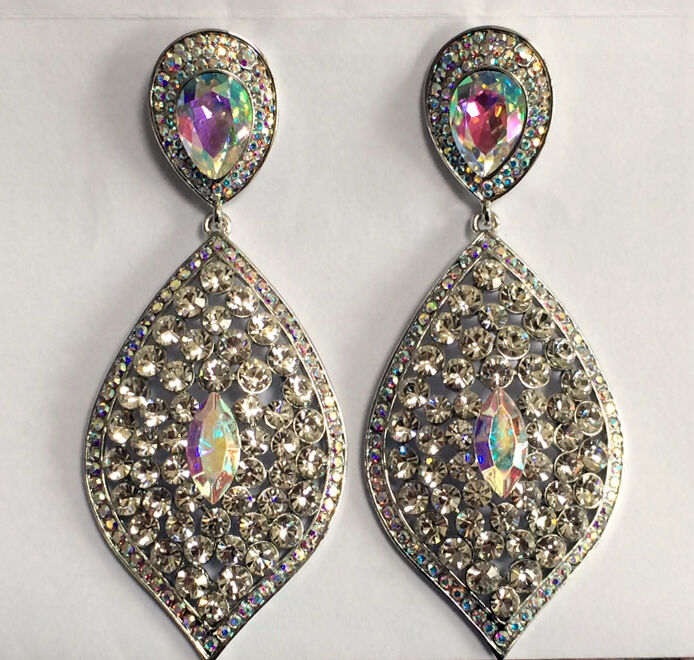 Butler and Wilson Clear Crystal Pointed Oval Drop Earrings NEW
