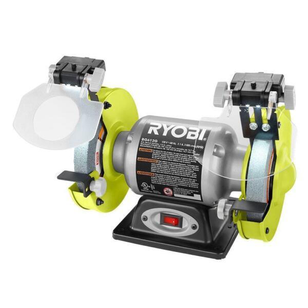 Ryobi Bg612g Heavy Duty 2 1 Amp 6 In Bench Grinder With