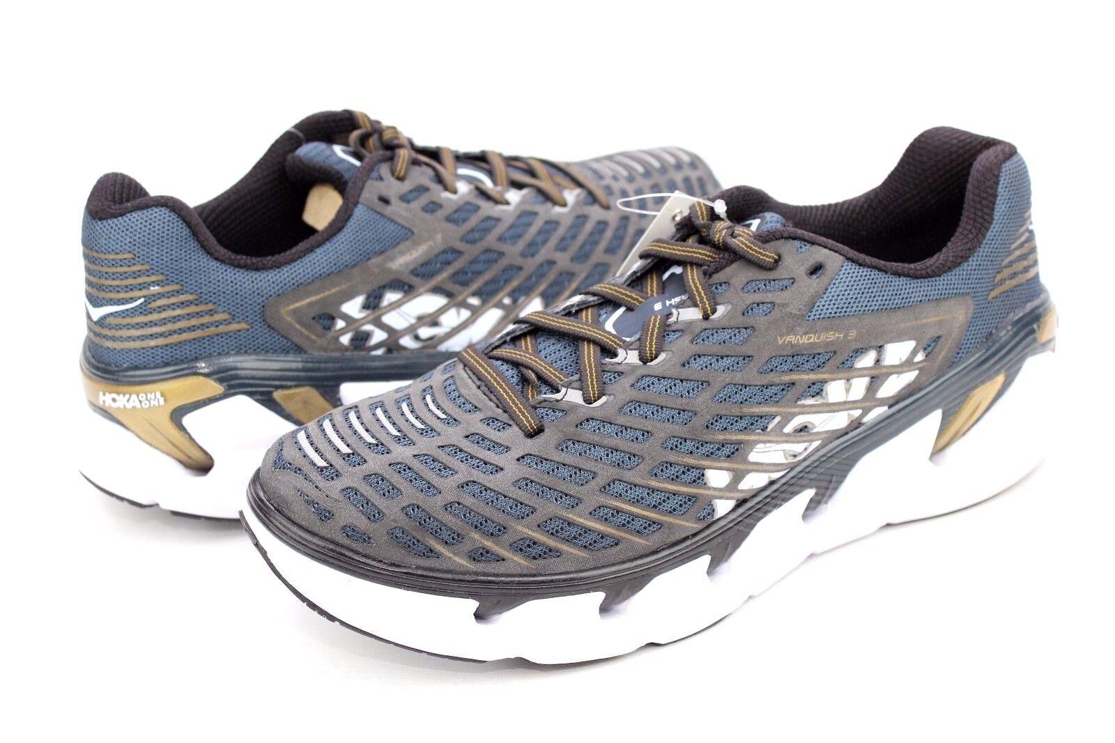 Hoka Vanquish 3 Para hombres Zapatos para Correr EE. UU. Color  Azul Oscuro Dorado Metálico