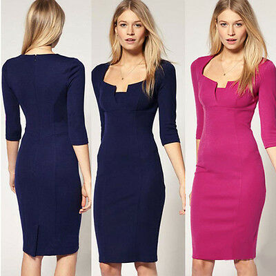 Women's Sexy 3/4 Sleeve Solid Work Party Square Neck Pencil Mini Dress N564