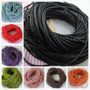 5/50m Black Man-made Leather Braid Rope Hemp Cord For Necklace Bracelet 3mm