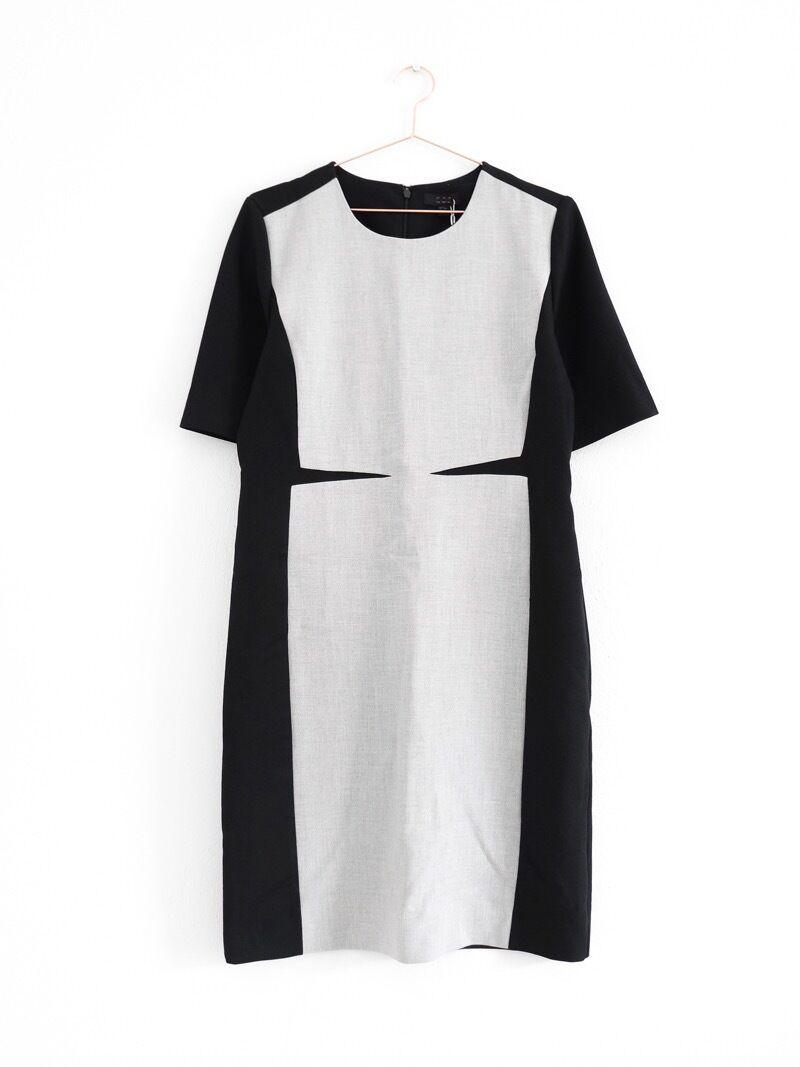 HOF115 COS Kleid dunkelblau grau   Panelled dress fitted navy grau 42
