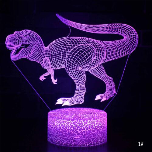 3D LED Night Light T-Rex Jurassic Dinosaur Series Table Desk Lamp Kids Xmas Gift