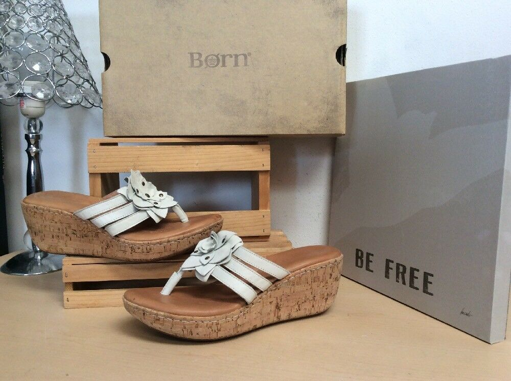 BORN Champagne Sandals Leather Thong Platform Slides Sandals Champagne W/Flower 10/42 PreOwned 3c60d2