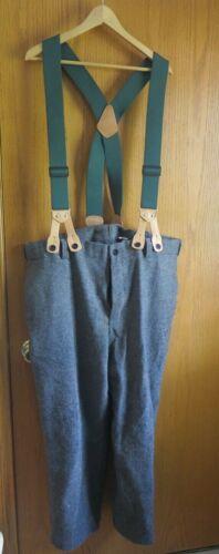 Vintage Woolrich Wool Gray W/Suspender Pants Hunti