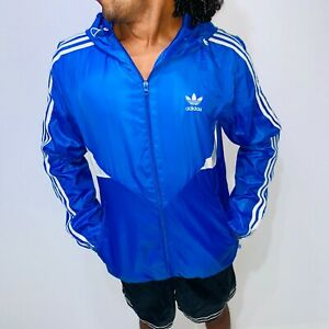 Details about Super Rare Vintage Adidas Originals Jacket Windbreaker Blue Shell Cal Surf Medm