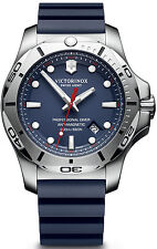 New Victorinox Swiss Army Inox Pro Diver Blue Rubber Strap Mens Watch 241734.1