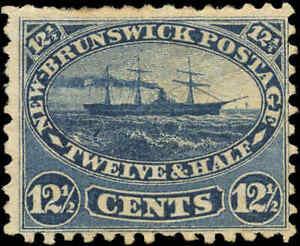 Mint-H-Canada-New-Brunswick-1860-12-1-2c-F-Scott-10-Steamship-Stamp