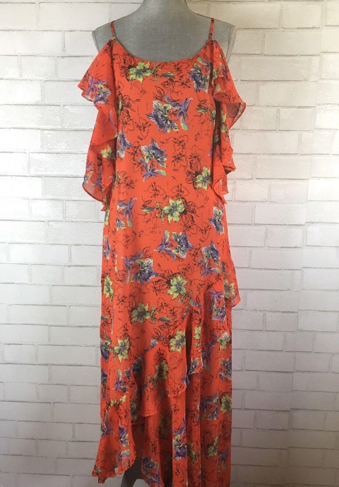 Adelyn Rae damen Maxi Dress Orange Ruffle Floral Cold Shoulder NWT Größe Small