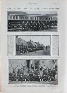 1900-PRINT-GUARDING-THE-QUEEN-TRAIN-CARRIAGE-3rd-BLACK-WATCH-QUEENS-GUARD
