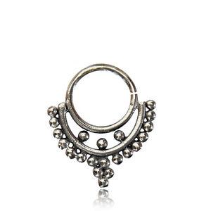 ORNATE 16G BRASS HANGING SEPTUM 9MM RING DIAMETER NOSE TRIBAL HOOK
