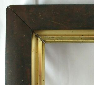 BIG-Fits-16-5-034-X-28-034-Mahogany-Veneer-GOLD-GILT-LINED-FRAME-FINE-ART-VICTORIAN