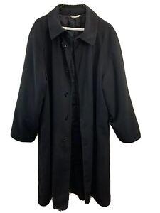 Women-s-Size-6-US-Armani-Collezioni-Black-Polyester-Button-Front-Trench-Coat