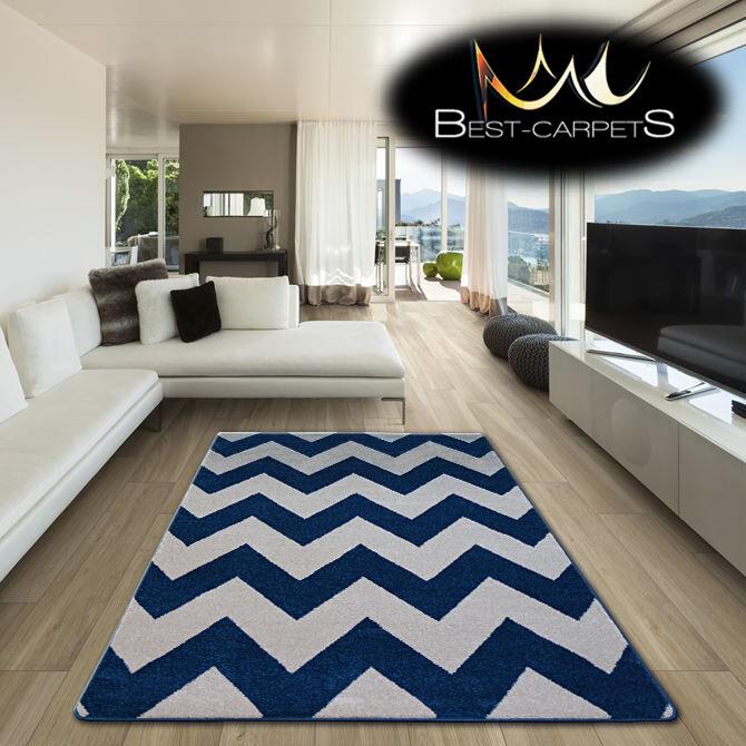 Incroyable Épais Tapis Modernes Brouillon Brouillon Modernes Zig-Zag Bleu Crème FA66 'Best-Carpets ad6661