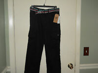 Rocawear Boys Pants Size 10 (waist 27) Black Twill With Belt Straight Leg
