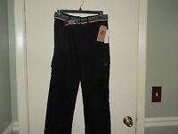 Rocawear Boys Pants Size 10 (waist 27) Black Twill With Belt Straight Leg