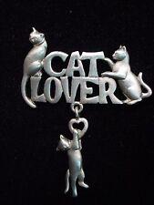 """""""JJ"""" Jonette Jewelry Silver Pewter 'CAT LOVER' Heart Cats Pin"""