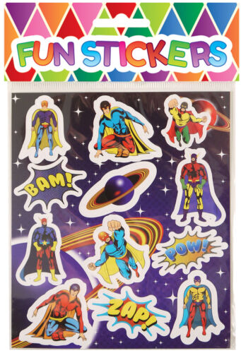 24 Super Hero Sticker Sheets Pinata Toy Loot//Party Bag Fillers Wedding//Kids