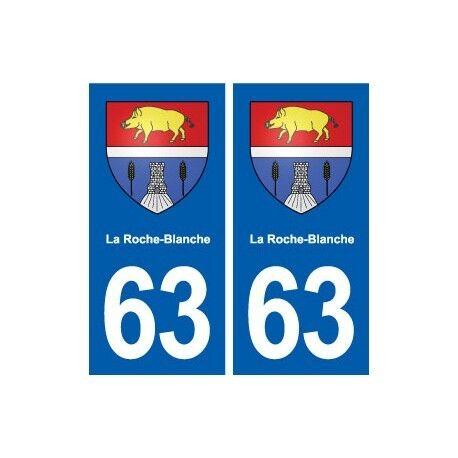 63 La Roche-Blanche blason autocollant plaque stickers ville arrondis