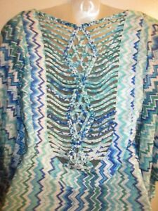 Sky-Clothing-Brand-L-205-Swim-Cover-Up-Beach-Rainbow-Blue-Sexy-Knit-Pool-Party