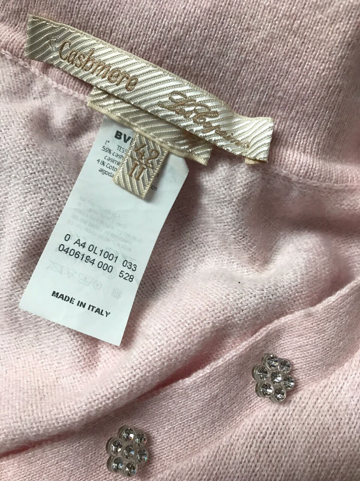 Women PINK CASHMERE Cotton Collar Sweater CRYSTAL… - image 2
