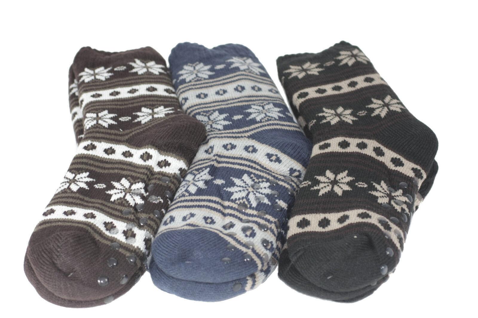 Herren Hüttensocken Hausschuhe Socken Hüttenschuhe warm ABS