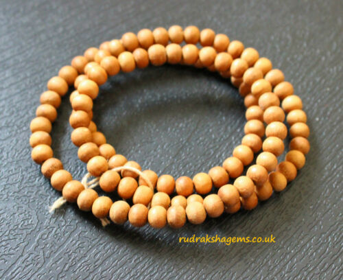 6 MM White Sandal wood Japa Mala 1635 Loose unknotted Rosary Bead Meditation Om