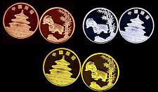 RARE ●● COLLECTION COMPLETE DES 3 MEDAILLES AVEC PANDAS TYPE 1 ●●● FDC UNC