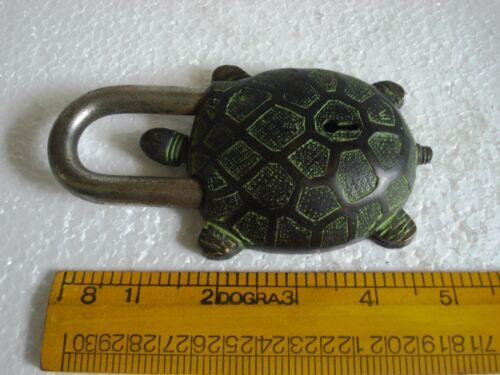 Brass Made ANTIQUE Style TORTOISE Type Padlock Black Lock with Key 5049