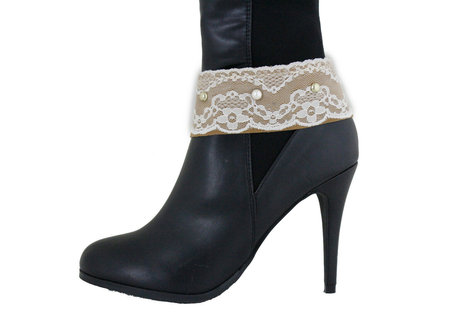 Women Boho Boot Bracelet Shoe Pearl Beads Beige Strap White Lace Band Jewelry