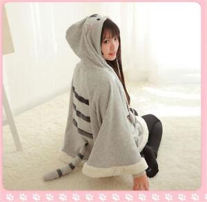 Anime-Neko-Atsume-Cat-Backyard-Warm-Cloak-Cute-Sweater-Hooded-Coat-Capes-Top