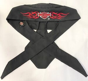 HARLEY DAVIDSON MOTORCYCLE Black Red Embroidered Shield Skull Cap Head Wrap Tie