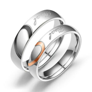 Stainless-Steel-Heart-Couples-Promise-Engagement-Ring-034-Real-Love-034-Wedding-Band