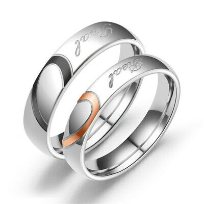Wedding Band Stainless Steel Real Love Couples Heart Promise Ring Engagement