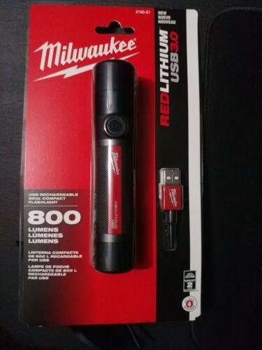 Milwaukee 2160-21 800 Lumens LED USB Rechargeable HP Fixed Focus Flashlight NEW!