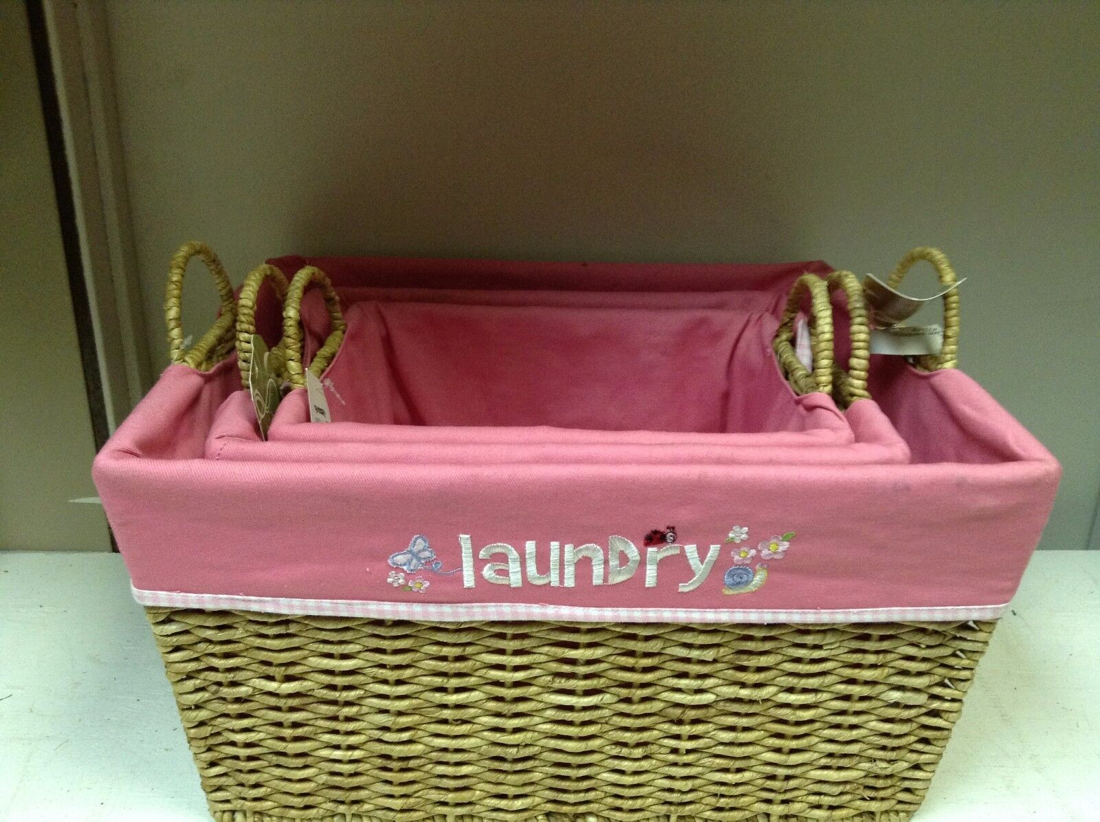 1 Natural Embroidered Toy LAUNDRY Bathroom Storage Basket Pink Liner 19x16x10