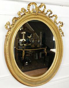 Actif Grand Miroir Ovale D'Époque NapolÉon Iii En Bois DorÉ De Style Louis Xvi