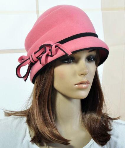 M107 Elegant Cute Bow Cashmere Wool Winter Hat Fashion Dress Bucket Cap 4-Colors