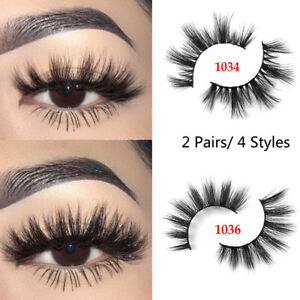 165670573e9 UK SKONHED 2 Pairs 3D Mink Hair Wispy False Eyelashes Natural Long ...