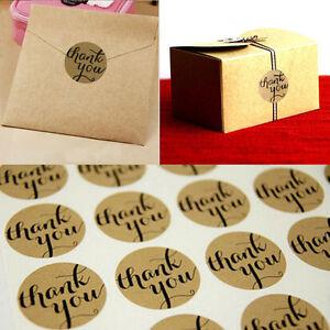 "New 120Pcs ""Thank You"" Round Packaging Seals Kraft Sticker Labels Wedding Decor"