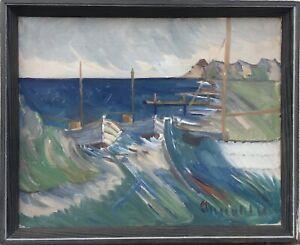 Arnold-William-Pedersen-1912-1986-Boats-at-sea-Beach-Coast-44-x-54