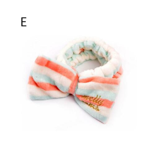 Big Bow Soft Dot Striped Towel Hair Band Wrap Headband For Bath Spa MakeUp de*
