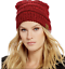 Burgundy C.C Exclusives Ribbed Beanie Hat Women/'s NWT Coral Red