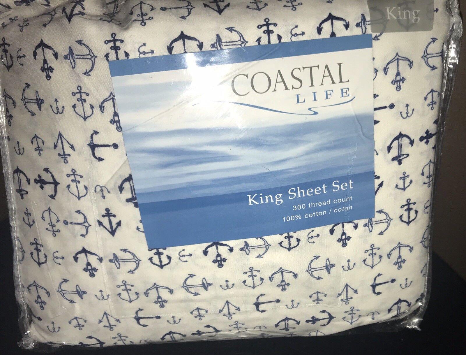 COASTAL LIFE Anchor 300-Thread Count Sheet Set (KING SIZE)
