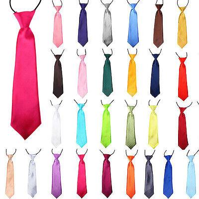 Prom Children/Boys/Kids Solid Plain Satin Elastic Neck Tie Necktie Wedding/Party