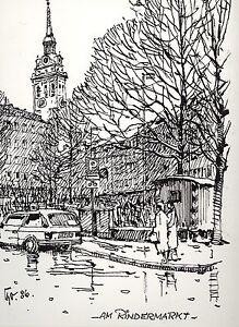 Antiquitäten & Kunst Tuschfederzeichnung,bauer-oltsch,original,am Rindermarkt,marienplatz,münchen Soft And Light