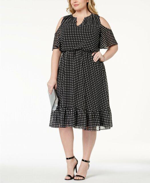 Buy Michael Kors Plus Size Dress 1x Thora Cold-shoulder Dress Black ...
