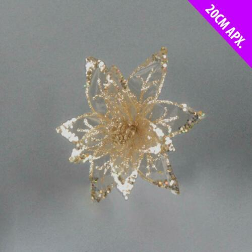 3 x Christmas Sequin /& Sheer Lace Glitter Flower Rose or Gold Clip On Poinsettia