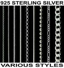 """925 Sterling Silver 14 16 18 20 22 24 26 28 30"""" inch Curb Trace Chain Necklace"""