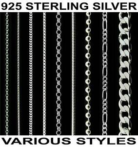 925 Solid Sterling Silver 16 18 20 22 24 26 28 30 Inch 2.1mm Curb Chain Necklace